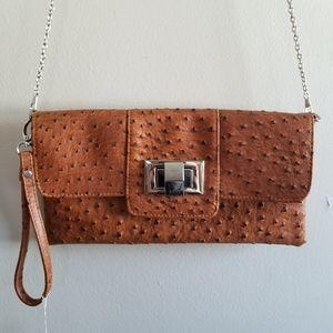 Genuine Leather Textured Wristlet/Shoulder Bag